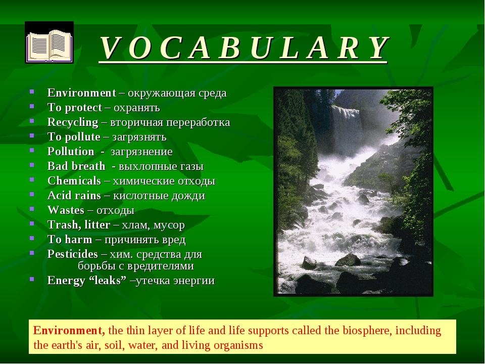 * V O C A B U L A R Y Environment – oкружающая среда To protect – охранять Re...
