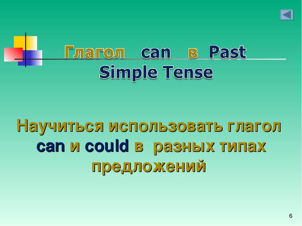 * Научиться использовать глагол can и could в разных типах предложений