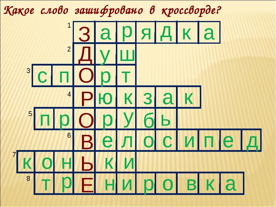 Какое слово зашифровано в кроссворде? З а р я д к а Д у ш с п О р т Р ю к з а...